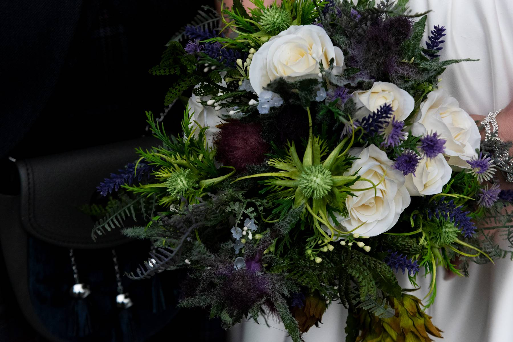 wedding thistle bride bouquet